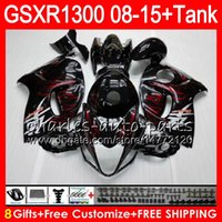 Wholesale Hayabusa Black White - 8Gifts 23Colors For SUZUKI Hayabusa GSXR1300 08 09 10 11 12 13 14 15 red flames 19HM1 GSX R1300 GSXR 1300 2008 2009 2010 2011 Fairing Kit