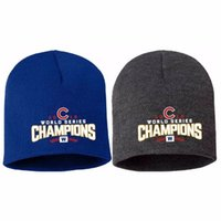 Wholesale Logo Knit Caps - Chicago Cubs 2016 World Series Champions Memorial Cap Knit Beanie Hat with Embroidered Logo Fashion Autumn Winter Hats