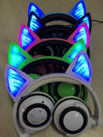 Wholesale Cute Stereo Headphones - Foldable Fashion Glow In Dark Cute Cat Ear Headphones Gaming Headset LED Light Earphone For PC Laptop Computer Cell Mobile Phone