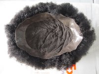 Wholesale Men Hair Toupee - Hot selling 6inch afro curl men toupee short malaysian virgin hair afro curl lace with pu toupees for black men free shipping