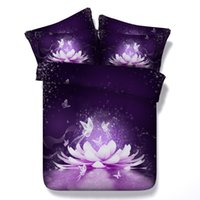 Wholesale Water Bedspread - 4 Styles Sexy Purple Water Lotus 3D Printed Bedding Sets Twin Full Queen King Size Bedspreads Duvet Covers Flower Butterflies Animal 3 4pcs