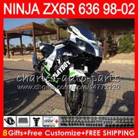 kawasaki branco ninja zx6r venda por atacado-Kit 8Gifts Para KAWASAKI NINJA ZX636 ZX-6R ZX-636 600CC ZX 636 preto branco 31NO88 ZX6R 98 99 00 01 02 ZX 6R 1998 1999 2000 2001 2002 Carenagem