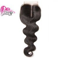 Wholesale Top Closure Density - Beauty Forever Peruvian Hair Top Lace Closure Body Wave Hair Closure 4*4 Middle Part Non-remy Human Hair 120% Density Natural Color