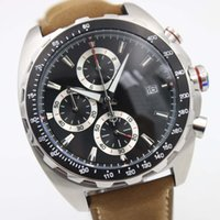 Wholesale Race Alloys - High Quality 46MM Watch For Racing Driver Quartz Chronograph Mens Watches With The Date Display On A Brown Leather Strap