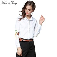 Wholesale Chinese Ol - Hua Shang Chinese Style Cartoon Characters Embroidery White Shirt Women Autumn Long Sleeve OL Office Blouse Cotton Women Tops
