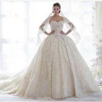 Wholesale Dress Straples - 2017 Designer Straples Wedding Dresses With Lace Ruched Sparkle Beaded Bridal Gowns Dubai Vestidos De Novia Custom Made