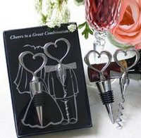 Wholesale Crystal Heart Favors - Bottle Openers Tool Wine Bottle Opener Heart Shaped Great Combination Corkscrew and Stopper Sets Wedding Favors Gift Kitchen Dining Bar