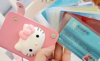 Wholesale Kawaii Id Card - Wholesale- Kawaii Hello Kitty 10Cards Cards Holder BAG PVC ID Pouch Case BAG ; ID BUS Cards Holder Bags Pouch Case Women Handbag