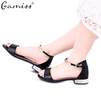 Wholesale Heeled Shoes One Strap - Gamiss Simple Design Metal Strap Ladies Flat Sandals Open Toe Low Heels Bohemian Women Beach Sandals One-word Concise Flip Flops Shoes+B