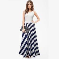 uzun yaz şeritli elbise toptan satış-Kadınlar için kepçe çizgili elbiseler scoop boyun yaz elbise kolsuz kat-uzunluk asimetrik siyah uzun elbise toptan