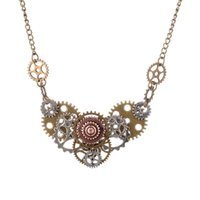 Wholesale Vintage Jewelry Wholesale Europe - Europe and the United States Hot Sale Retro Necklace Bronze Gear Pendant Necklace Steam Punk Jewelry Personalized Vintage Statement Jewelry