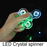 Wholesale Acrylic LED Luminous Glitter Jelly Clear Fidget Spinner Crystal Hand Spinner Tri Fidget Ceramic Ball Desk Focus Toy