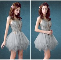 Wholesale Mini Skirt Sheer Lace - Summer New Banquet Short Poncho Skirt Lace Party Cocktail Dress Dew Deep V Back School Dance Dresses HY1804