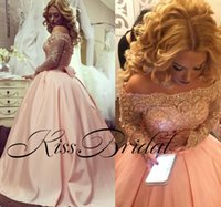 Wholesale Sexy Big Formal Dresses - Blush Pink 2018 Lace Prom Dresses Lace Long Sleeves Big Ball Gown Bateau Neck Formal Girls Pageant Dresses