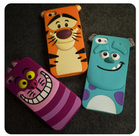 3D Cute Cartoon Tiger Animal Monsters Sulley Alice Silicone Case Cover para iphone 5S SE 6 6S 7 Plus 5.5inch goophone i7