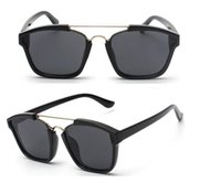 Wholesale Colorful Bridge - 2017 Top Fashion Luxury Brand Men and Women Sunglasses Flat Lens Colorful Frame Bouble Bridge Oculos De Sol Aviator Sunglasses