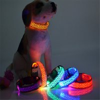 Wholesale harnesses led dhl for sale - Group buy Fashion Sexy Leopard printed design LED dog collars LED pet Flashing collars Nylon DHL Free a239 a252