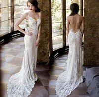 Wholesale lace plunging sexy wedding dress - 2017 Sexy Sheer Lace Wedding Dresses with Detachable Skirt Mermaid Backless Plunging Neckline New Arrival Country Bridal Gowns