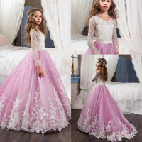 Wholesale Long Sleeve T Shirts Junior - Junior Little Girls Pageant Dresses 2017 Toddler Kids Long Sleeve Ball Gown Floor Length Glitz Flower Girl Dress For Weddings
