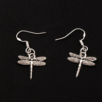 Wholesale Dragonflies Earring - Airfoil Flying Dragonfly Earrings 925 Silver Fish Ear Hook 50pairs lot Tibetan Silver Dangle Chandelier E968 17x32.5mm