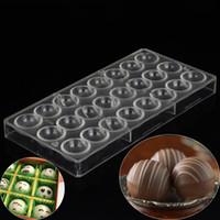 ingrosso stampi in plastica rotonda-Sfera Rotonda Sfera Stampi per cioccolato Cucina Bakeware Pasticceria Utensili in policarbonato Stampo per cioccolato in plastica