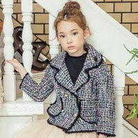 Wholesale Top Coat Double Breasted - Girls coat children plaid wool tassel lace princess trench coat kids plaid double breasted tops windbreaker overcoats clothes R0151