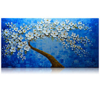 Wholesale Oil Acrylic Canvas - KGTECH Palette Knife Flower Artwork 3D Acrylic Painting Handmade Royal Blue Arts Wall Decor Canvas Large