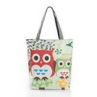 Women owl artwork - Owl Printed Canvas Bag Europe and America handbags printed shopping bag foreign trade retro female handbag