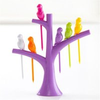 Wholesale Novelty Dinnerware Sets - Wholesale- Novelty Tree Bird Plastic Fruit Forks Stand 6 Forks Toothpick On The Tree Gadgets Fashion Tableware Dinnerware Sets Kitchen Tool