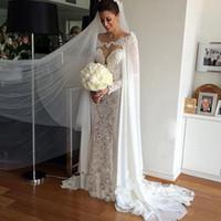 Wholesale Weding Dresses Sleeves - Long Sleeves 2017 Sheer Back Weding Gowns Vestidso De Noiva Mermaid Lace Wedding Dresses Robe De Mariee Removable Cape Wedding Dress