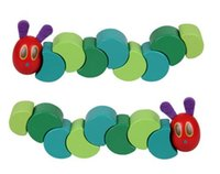 Wholesale Wooden Caterpillar - Montessori the Very Hungry Caterpillar Toys for Children Wooden Blocks Kids T Fingers Flexible Blocks