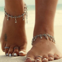 Wholesale Wholesale Anklet Jewelry - XS Contracted Vintage Carve Patterns Designs Anklets Hollow Out Tassel Beach Foot Chain Silver-Color For Women Jewelry