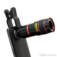teleskop mobil für iphone großhandel-8X Vergrößerung Handy Zoom Teleskop Lupe Optische Kamera Objektiv Für iPhone Samsung Galaxy Epacket Freies 1 STÜCKE UP