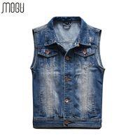 Wholesale New Mens Jean Vest - Wholesale- 2016 New Arrival Mens Sleeveless Denim Jacket Mens Denim Vest Colete Masculino Large Size Vest Men Chaleco Hombre Jean Vest