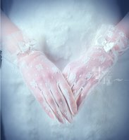 Wholesale High Fashion Wedding Gloves - 2017 New Fashion High quality white lace Glove for wedding 5 fingers glove Bridal supplies Beige gloves