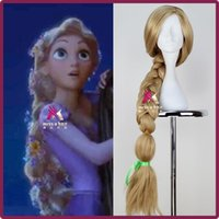 Wholesale Extra Long Curly Cosplay Wig - New Movie Tangled Princess Rapunzel Wig Extra Long Blonde Braid Synthetic Anime Cosplay Wig + Free wig cap