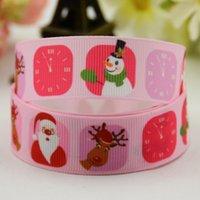 Wholesale Diy Santa Accessories - Sweet Pink Grosgrain 100Yards Santa Claus Christmas Deer Snowman Printed Ribbons Grosgrain DIY Girls Hair Bow Accessories Craft