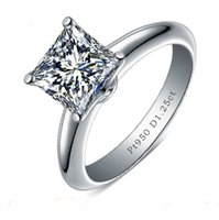Wholesale Princess Plates - ForeverBeauty Classic 1.25CT Princess Cut Diamond Ring With Solid 925 Sterling Silver Plated Platinum Women Wedding Engagement Rings
