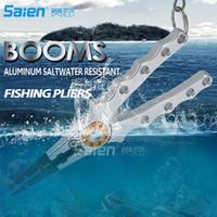 aluminiumfischen lockt großhandel-Booms Angeln Aluminium Angeln Zangen Resistant Salzwasser für Schneiden Braid Line und entfernen Sie Haken und Locken mit Coil Lanyard