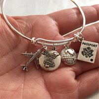 Wholesale christmas airplane - 12pcs Spanish bracelet travel-Bracelet with airplane passport world and stamped nunca es tarde or sigue a tu corazon charm