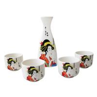 bellas mujeres japonesas al por mayor-Porcelana japonesa Sake botella Conjunto del motivo y pintura Copa sistema del regalo del geisha Señora tradicional china de mujeres hermosas Diseño