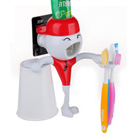 Wholesale personality PVC children cartoon character pattern automatic toothpaste squeezer toothbrush holder extruder dental seat lazy creative