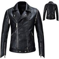 chaqueta de moda delgada al por mayor-Punk Jacket New Fashion PU Chaqueta de cuero Hombre Negro Sólido Hombres Abrigos de piel sintética Trend Slim Fit Youth Motorcycle Coat Hombre