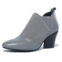 Wholesale Fall Style Tips - 2017 street style first layer of leather with elastic cloth tip women boots non-slip rubber at the end with the lazy shoes