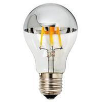 Wholesale Medium Base Led Light Bulbs - Led Light Bulbs 4W A60 Led Bulb with Mirror E27 Medium Base Half Chrome Siliver A Shape Bulb Energy Saving Warm White 2700k Non-Dimmable