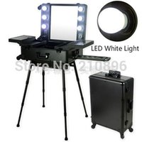 Wholesale Trolley Cosmetic Box - Wholesale- LED White Light Professional Aluminum makeup case with light mirror trolley and legs cosmetic makeup station Lighted Makeup Box