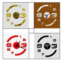 Wholesale Large Number Digital Clock - DIY Numbers Stickers Wall Clock Removable Wallpaper Time Decor Art Hour Digital DIY Large Wall Clock 3D Mirror Surface Home Office Decor