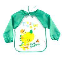 Wholesale Apron Patterns - Wholesale- EVA Plastic Waterproof Long Sleeve Cartoon Pattern Infants Baby Bibs Apron Unisex Children Clothing RZ