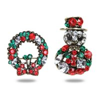 Colorido Rhinestone Christmas Brooch Pin Set Crystal Pins Badge Broches para Mulheres Scarf Pin Presentes de Natal