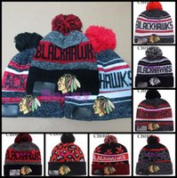 Wholesale Character Patrick - Wholesale Chicago Blackhawks Team Pom Wool Knit Beanies Jonathan Toews Winter Patrick Kane Sharp Ice Hockey Caps For Men Women Hats